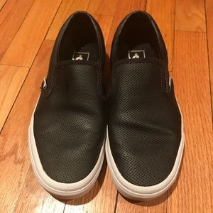 Black Leather Perforated Vans Slip On Shoes